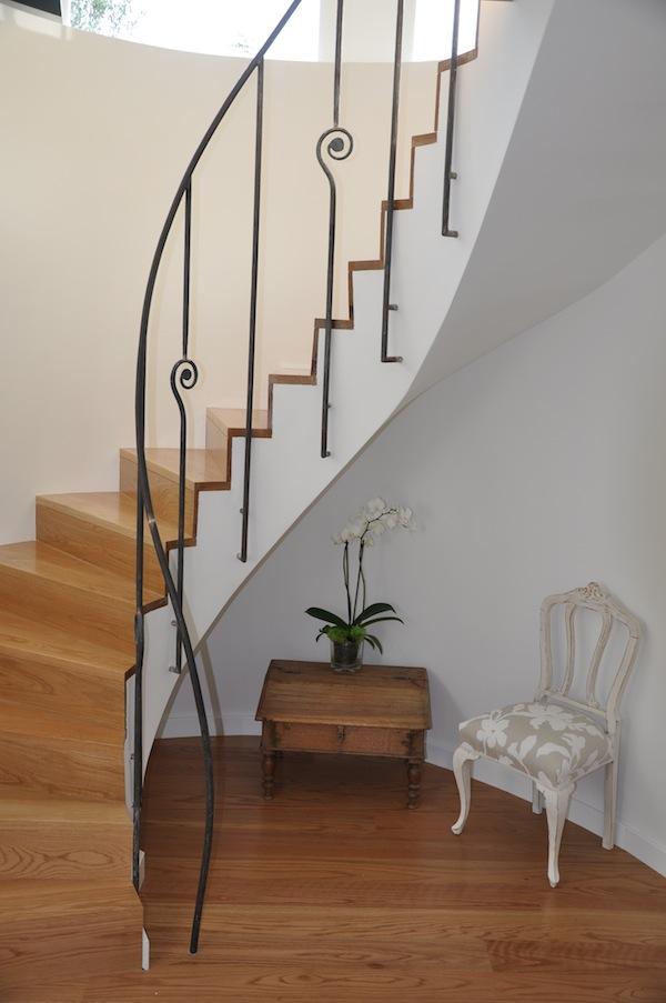Geländer für eine Wendeltreppe, aus geschmiedetem Eisen