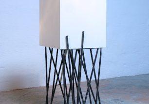 """""""cube"""", mesa auxiliar cube de diseño, fabricado en DM y acero, forjacontemporánea-Spain"""